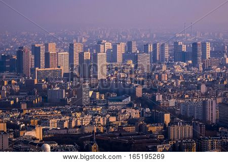 View of Paris from the top of Eiffel Tower, France