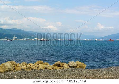 Rocky beach of the city of Novorossiysk