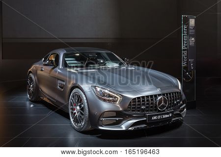 DETROIT MI/USA - JANUARY 10 2017: A Mercedes-AMG GT C car at the North American International Auto Show (NAIAS).