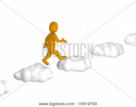 Man going up to the sky