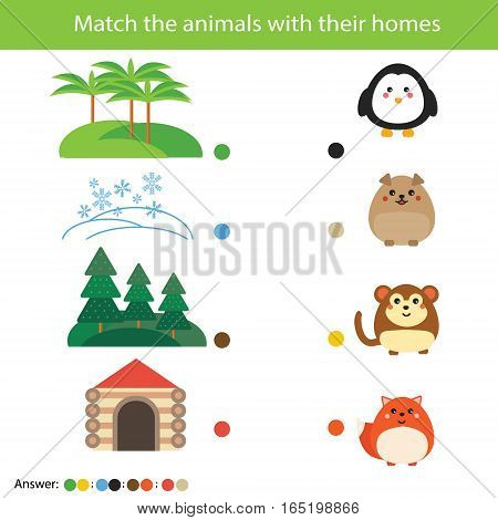 Matching children education game. Match animals with their homes. Learning nature theme activity for kids. Worksheet with answer