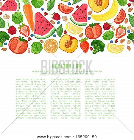 Template design booklet with the decor of the fruit. Horizontal pattern of natural foods, fruits, vegetables and berries. Seamless decor vegetarian meal for poster, banner. Vector