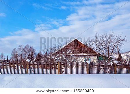 winter snowy Altai village Katanda Siberia Russia
