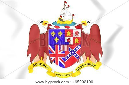 Alabama Coat Of Arms, Usa. 3D Illustration.