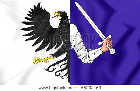 3D Flag Of Connacht Province, Ireland. 3D Illustration.