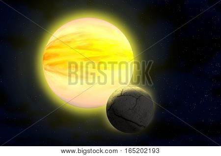 Dead planet and sun. Space scene. Space background