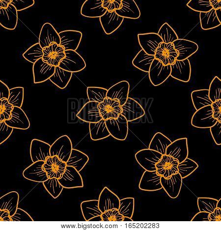 Golden flowers seamless pattern, hand drawn tileable vector background. Narcissus is one of symbols of Spring Festival or Chinese New year in China. Gold and black