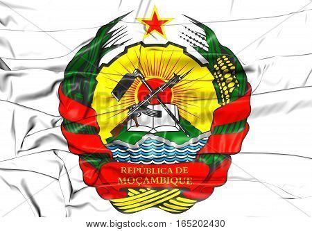 Mozambique Coat of Arms. 3D Illustration. Close Up.