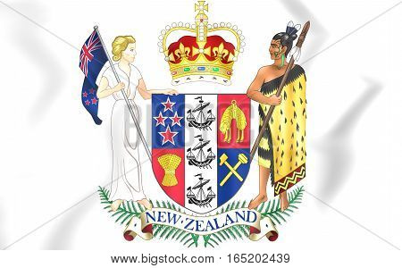 New Zealand Coat Of Arms. 3D Illustration
