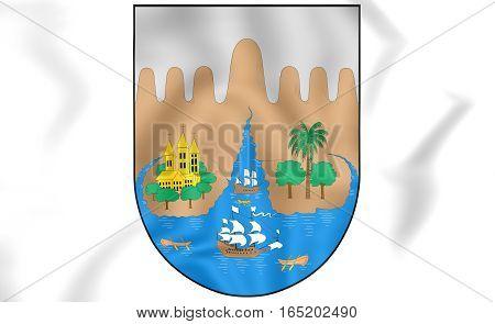 Santiago De Cali Coat Of Arms, Colombia. 3D Illustration.