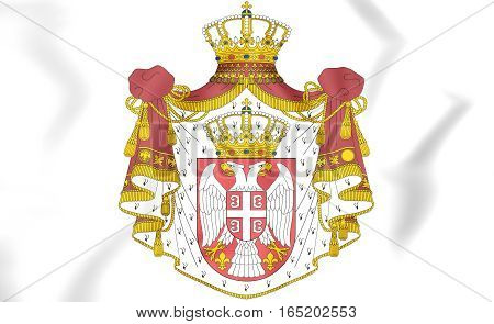 Serbia coat of arms. 3D Illustration. Close Up.