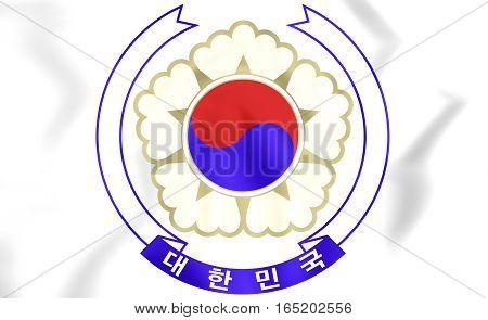 South Korea Coat Of Arms. 3D Illustration.