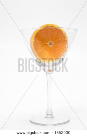 Sliced Orange In A Martini Glass