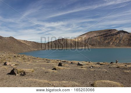 Blue Lake From Tongariro Alpine Crossing