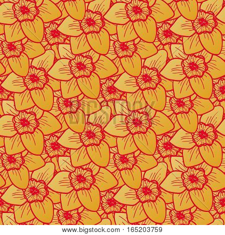Golden flowers seamless pattern, hand drawn tileable background. Narcissus is one of symbols of Spring Festival or Chinese New year in China. Gold and red