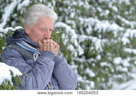 mature man thinking about something, fir trees on background