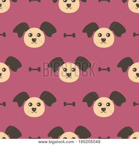Dog head and bone. Seamless pattern. Repeating texture. Purple beige brown.