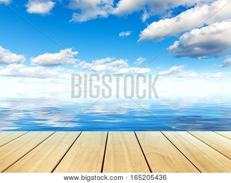 Scenic summer view of beautiful tropical sea water surface blue sky with clouds and wooden plank table or pier board platform nature landscape background