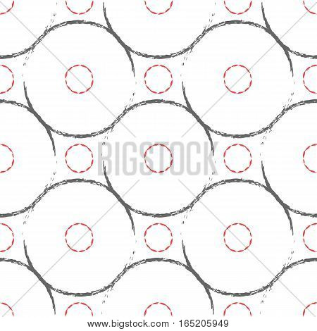 Repeating seamless pattern. Background circles drawn rough brushes. Grunge texture. Grey red white.