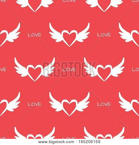 Heart with wings and the text Love. Repeating texture. Seamless pattern. Pink white.