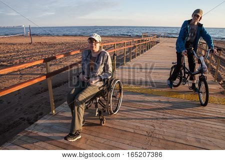 Woman Disabled On The Terrace Built Specifically For Disabled Wheelchair