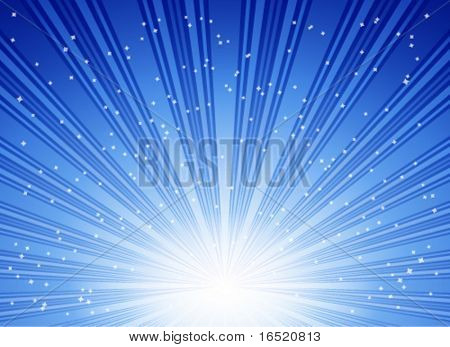 Abstract blue vector blast of stars