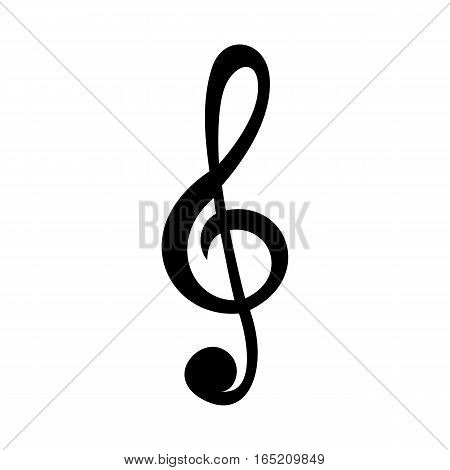 Simple treble clef icon. Isolated on white background.