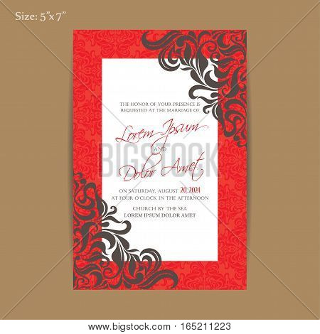 Luxury vintage wedding invitation fkoral decorative card