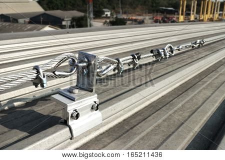 Lifeline made of Steel Wire Rope on Metal sheet Roof for Solar PV system maintenance purposes