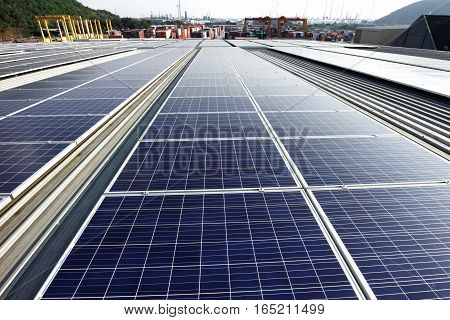 Solar PV Rooftop System with Industrial Background