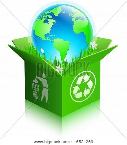 Globo en un reciclaje caja de envío