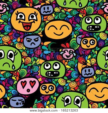 Seamless pattern with different smiles head on abstract frame. Vector illustration.