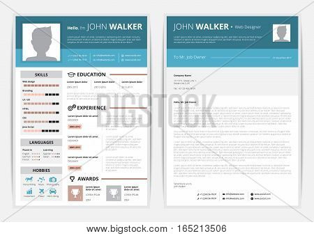 CV web page with education and awards symbols  flat isolated vector illustration