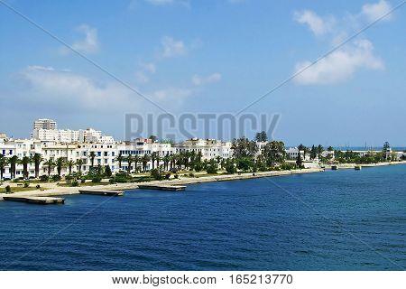 Sea coast with white buildings in Tunisia