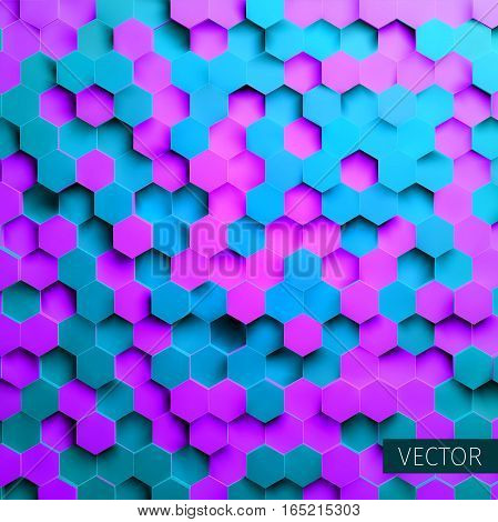 Hexagonal vector background. Toxic backdrop. Technology impression. for web banner