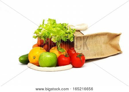 Fruits and vegetables in a shopping bag