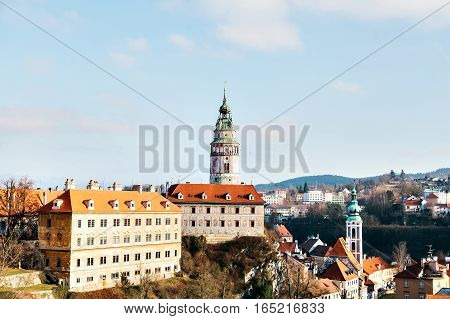 Cesky Krumlov from the top, Czech Republic. Europe.