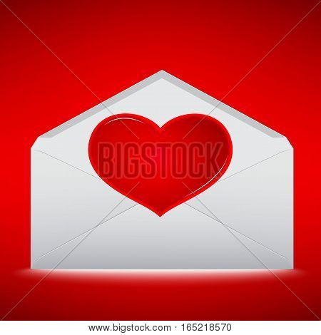 Red Heart on envelope with red background.