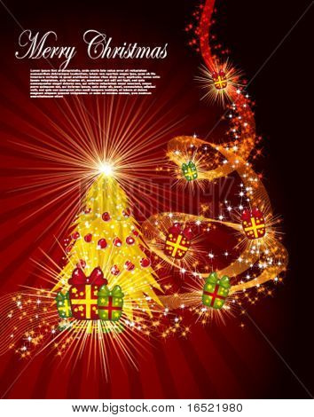 Fairy golden christmas tree with gifts on a dark red background. Vector eps10 illustration