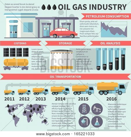 Square oil gas industry infographic poster with petrol transportation storage processing and logistics images and captions vector illustration