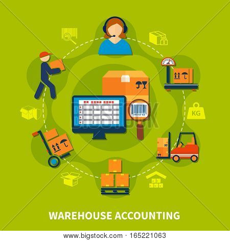Colored circle dotted line logistic composition with warehouse accounting headline with steps to shipping vector illustration