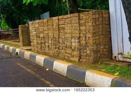 Mound of pavement blocks for build pedestrian photo taken in Jakarta Indonesia java