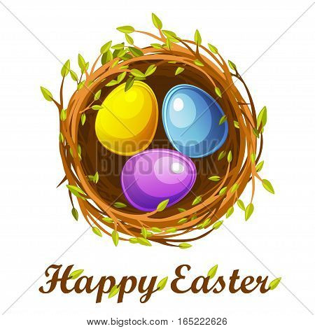 Cute Easter greeting card, bird nest and color eggs, vector design