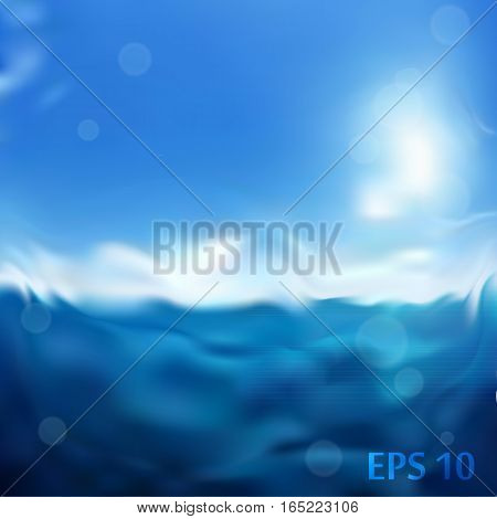 Blue sea wet vector blurred background for you design