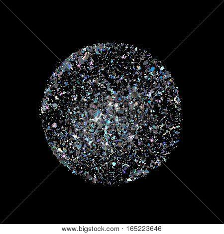 Starburst With Sparkles. Silver Glitter.