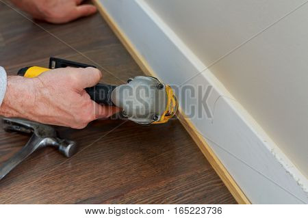 Gauge Finish Nailer Man Nailed Slats Custom House Building Contractor Up A Wall Section For Luxury