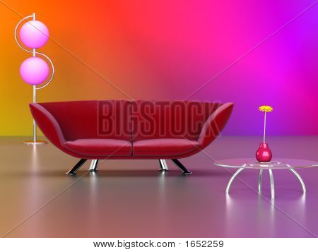 Modern Red Couch