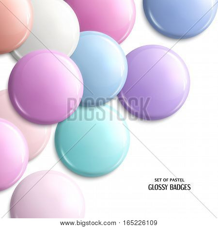 Set of blank, glossy badges or web button. Pastel shades.