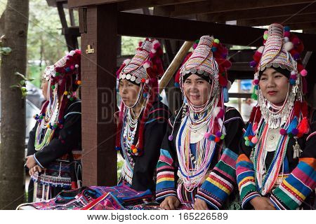 CHIANG MAI, THAILAND, JANUARY 11: Thailand akha hill tribe waiting to perform traditional dance show for tourist in