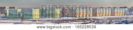 St. Petersburg Russia - January 11 2017: Residential complex New Ohta real estate in new buildings Panoramic photo.